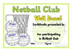 Sports certificate award certificates pinterest netball yadclub Image collections