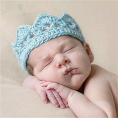 Newborn Toddler Boy Girl Baby knitted Crochet Princess/prince Crown Tiara Headband 9 colors Taking Photography Props - Alternative Measures - 1 - 8