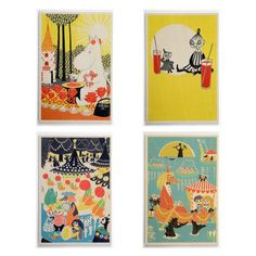 A lovely pack of four handmade wooden post cards that can be sent through the mail or used as decorative items on your bookshelf. Four motives taken from the picture books Who will comfort Toffle and The book about Moomin, Mymble and Little My: Moominmamma and the vine berries, Carousel, lemonade break and Marriage party.Size 10 x 15 x 0,3 cm.Made in Finland.