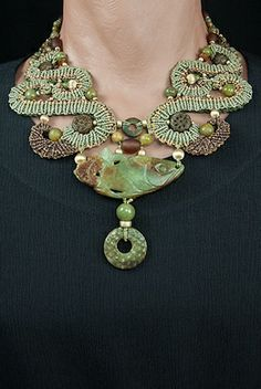 Barbara Natoli Witt ~ Small reversible collar with antique Chinese carved jade fish and small pi ornament - jade beads of many colors, 14k gold beads, and old unpolished amber beads