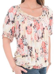 fbed4952 American Eagle Outfitters · American Rag Plus Size Floral Top Multi-Color  Peach Flowers, American Rag, Cotton. Tradesy