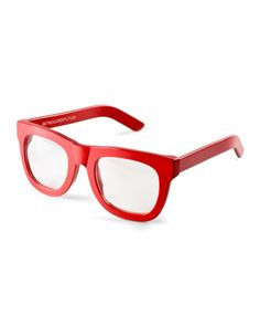 Ciccio+Thick-Frame+Fashion+Glasses,+Red+by+Super+by+Retrosuperfuture+at+Neiman+Marcus.