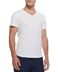 Jersey V-Neck Tee, White, Size: SMALL - Orlebar Brown