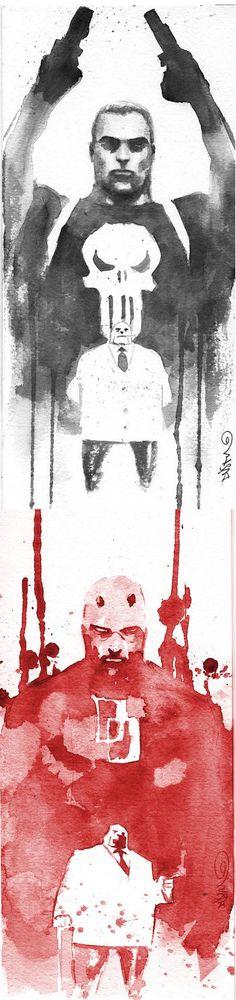 Punisher and Daredevil vs. Kingpin by Dustin Nguyen Marvel Art, Marvel Dc Comics, Marvel Heroes, Captain Marvel, Comic Book Heroes, Comic Books Art, Dustin Nguyen, Superhero Villains, Marvel Comic Character