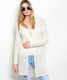 Love this Cream Hooded Open Cardigan by Buy in America on #zulily! #zulilyfinds