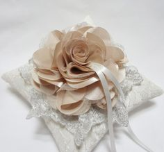 Romantic wedding ring pillow beige bloom and silver lace by mirino