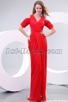 1st-dress.com Offers High Quality Amazing 80s Red Chiffon Short Sleeves Prom Dress,Priced At Only US$158.00 (Free Shipping)