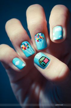 Nails inspired by the movie, Up!  Have Carl's house and a sky full of balloons at your fingertips. OMG I WANT TO DO THIS!!!!!!!!!!!!1