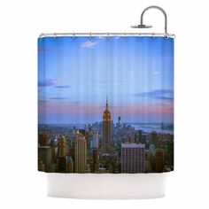 "Juan Paolo ""Empire State Of Mind"" Blue Multicolor Shower Curtain"