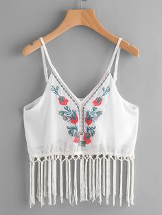 SheIn offers Embroidery Fringe Trim Chiffon Cami Top & more to fit your fashionable needs. Casual Skirt Outfits, Crop Top Outfits, Cool Outfits, Look Fashion, Fashion Outfits, Fashion Design, Chiffon Cami Tops, Leather Jacket Outfits, Stylish Dress Designs