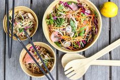 Asian style buckwheat noodle salad