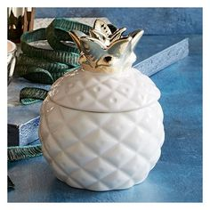 West Elm Mini Pineapple Figurative Scented Candle (19 AUD) ❤ liked on Polyvore featuring home, home decor, candles & candleholders, gold, lit candle, fruit container, fruit scented candles, mini figurines and miniature candles