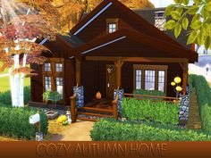 Adorable autumn home featurong one bedroom, one bathroom with laundry, and living room with kitchen. Found in TSR Category 'Sims 4 Residential Lots' The Sims 4 Lots, Granite Falls, Sims House Plans, Sims Building, Fall Bedroom, Sims 4 Build, Outdoor Retreat, Autumn Cozy, City Living
