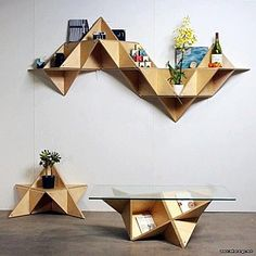 Clever and unique design, this T.Shelf (triangle shelf) by J1 Studio needs no screws or tools to assemble it. Just a bunch of cables and zip ties and it's done. The shelving system is designed to pack flat ready to go anytime!    Posted by www.GoMadideas.com #GoMad