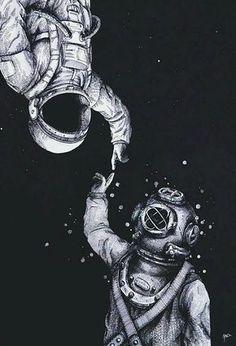 Astronauta e um escafandrista