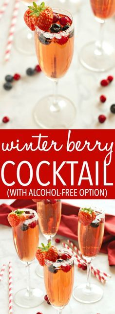 This Sparkling Winter Berry Holiday Cocktail is the perfect drink recipe for holiday parties! It's bursting with winter flavours, and it's so easy to make! Recipe from thebusybaker.ca #holidaycocktail #holidaymocktail #holidaypunch #christmasdrink via @busybakerblog