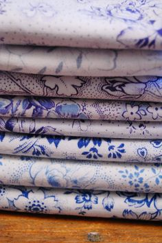 1920's French Fabric Bundle 9 Early Blue White by theprimitivehome, $29.95