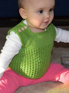 Free knitting pattern for Tummy Warmer baby vest - Angela Tong's baby vest is knit in the round, seamlessly from the top down and uses a twisted-stitch honeycomb pattern to add insulation. Newborn, 3-6 months. Pictured project by MollyHA