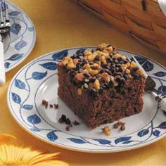 "Apple German Chocolate Cake Recipe- Recipes  ""This delectable dessert is perfect to bake when unexpected guests stop by,"" writes Shirley Weaver from Zeeland, Michigan. A boxed cake mix and canned pie filling make the moist snack cake a cinch to put together while chocolate chips and nuts create the quick-and-easy topping."