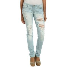 Bleached Destroyed Skinny Jean ($37) ❤ liked on Polyvore featuring jeans, pants, jeans 4, bleached ripped skinny jeans, bleached jeans, skinny jeans, destroyed skinny jeans and distressed skinny jeans