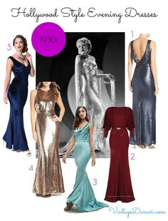 Old Hollywood Dresses 1930s 1940s 1950s Vintage
