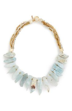 Panacea Aquamarine Beaded Bib Necklace available at #Nordstrom