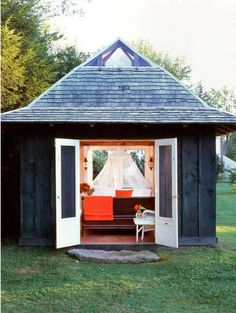 cottage - put a little loft bed up in there and it would be perfect.