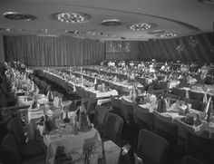 The Copa Room at the Sands Hotel decked out for New Years - where the Rat Pack peformed for the summit reunions. - undated.