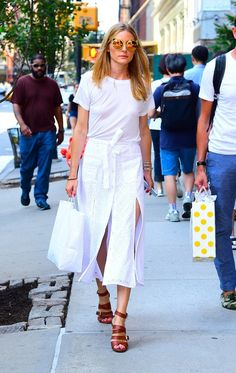 Olivia Palermo in a white slit skirt