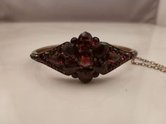 ANTIQUE VICTORIAN BOHEMIAN ROSE CUT GARNET HINGED BANGLE BRACELET #Unbranded #Bangle