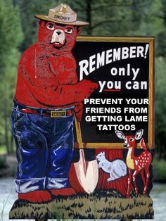 Smokey bear says: Remember! Only you can prevent a corrupt government! Cup Tattoo, Tattoo Art, Smokey The Bears, God Bless America, First Nations, Back In The Day, We The People, Childhood Memories, Sweet Memories