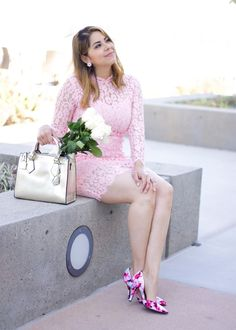 Pink Lace Dress from @chicwish with pink floral heels from @CharlotteRusse . Love that the dress has a high neck and a gorge hem. Also added a gold structured handbag from @galianhandbags