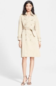 $660, Beige Trenchcoat: Double Breasted Gabardine Trench Coat by A.P.C.. Sold by Nordstrom. Click for more info: http://lookastic.com/women/shop_items/161297/redirect