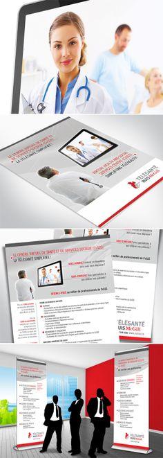 Télésanté Ruis McGill  Travailler avec l'équipe du département de Télésanté du CvSSS (Centre virtuel de santé et de services sociaux) RUIS (Réseau universitaire intégré de santé) McGill fut un réel plaisir.  Ils avaient besoin d'une image représentant bien la consultation à distance d'un professionnel de la santé en utilisant les couleurs de leur logo. Distance, Centre, Logo, Social Services, Health Professional, Colors, Logos, Logo Type, Long Distance