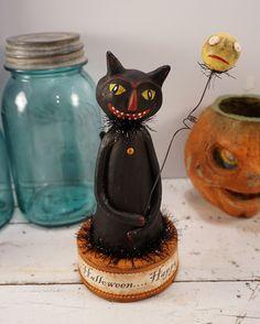 halloween folk art batty cat paperclay by apinchofprim on etsy halloween and dark art pinterest cats folk art and art