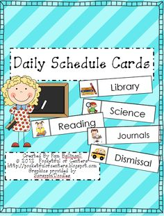 Daily Schedule Cards $1.75