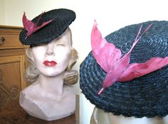 1940s hat Fab Gage tilt black in black straw by TopTottieVintage