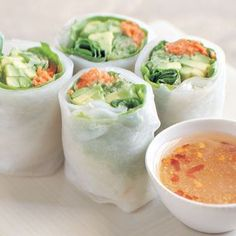 Cucumber & Avocado Summer Rolls with Mustard-Soy Dipping Sauce.