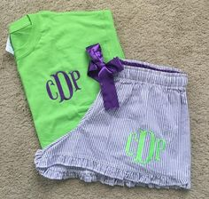 Seersucker Monogrammed Bitty Boxer Pajama Set by ASouthernWhimsy