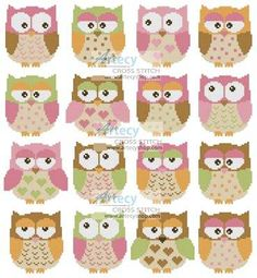 Owls Cross Stitch Pattern animals