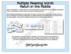 Match in the Middle - Multiple Meaning LIteracy activity from Sunny Days on TeachersNotebook.com (6 pages)