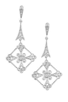 Bezel Diamond-Shaped Drop Earrings