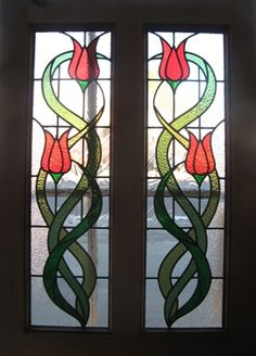 Custom Art Nouveau leaded glass panels made for customer by Peco of Hampton, Hampton, Middlesex, UK