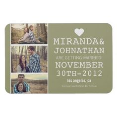 #wedding Green Bold Photo Strip Save The Date Magnet - MAYBE WITH THE PICS LARGER THAN THE TEXT