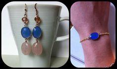 Orecchini e bracciale blu cobalto www.facebook.com/jewelleryofG