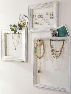 8x10 TealGreen Distressed Jewelry Wall Organizer