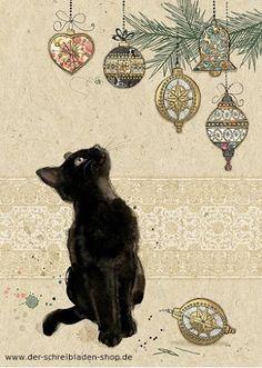 Katzen und Christbaumschmuck.. ein Traum :D www.der-schreibladen-shop.de #Weihnachtskarten #postcards #christmaspostcards #Postkarten #Nürnberg #Papeterie