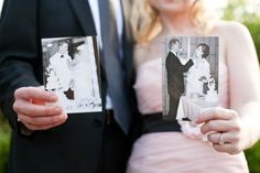 Each couples holds a photo from their parents' #wedding day.