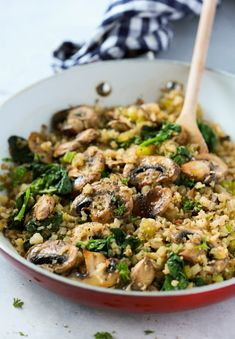 "Mushroom Cauliflower ""Rice"" Skillet Primavera Kitchen Recipe"