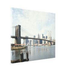Brooklyn Bridge and Manhattan Photograph Canvas Print
